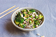 Soba Noodles with Broccoli and Peas