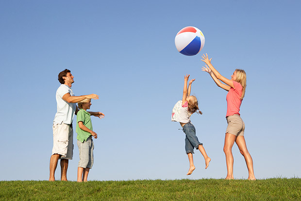 family playing toss