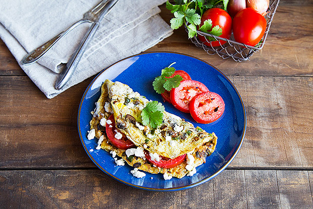 Vegetable and Feta Omelet Recipe
