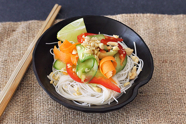 Ribbon Vegetable Salad with Rice Noodles Recipe