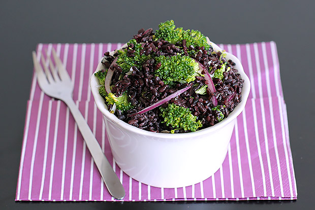 Broccoli and Black Rice Salad with Tahini-Honey Dressing Recipe