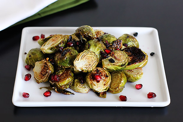 Roasted Brussels Sprouts with Lemon and Pomegranate Recipe