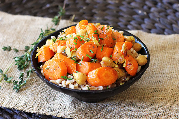 Carrot, Chickpea, and Farro Salad with Thyme Recipe