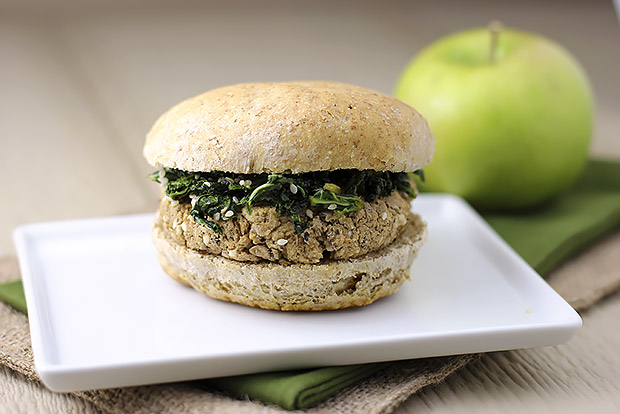 Black-eyed Pea and Sesame Burgers with Sweet Soy Kale Recipe