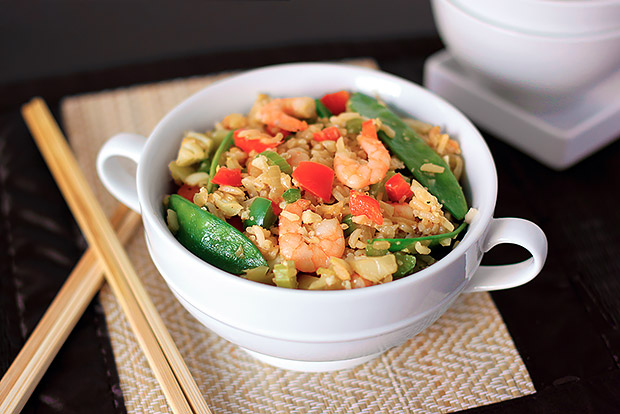 Healthier Shrimp and Vegetable Fried Rice