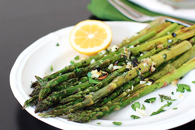 Garlic Roasted Asparagus with Fresh Herbs and Lemon Recipe Garlic ...