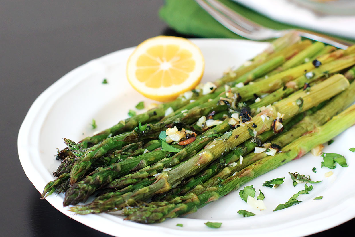 Garlic Roasted Asparagus with Fresh Herbs and Lemon Recipe ...