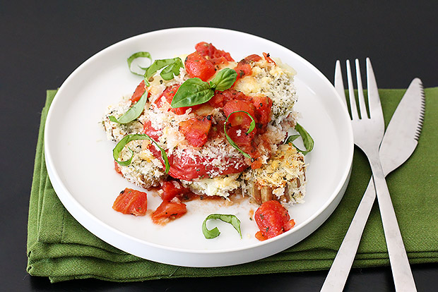 Baked Eggplant and Tomato Parmesan