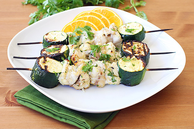 Grilled Cilantro Orange Fish Kebabs with Summer Squash Recipe