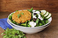 Falafel Salad with Cucumber Feta Dressing
