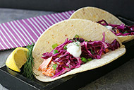 Salmon Tacos with Red Cabbage Dill Slaw