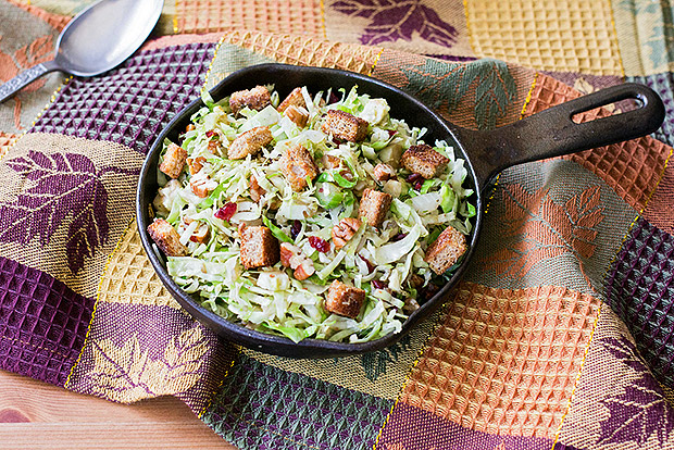 Warm Shredded Brussels Sprouts Salad with Garlic Parmesan Croutons Recipe